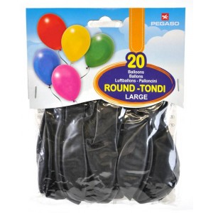 Busta 20 palloncini large Nero