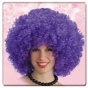 Parrucca ricciolona viola...