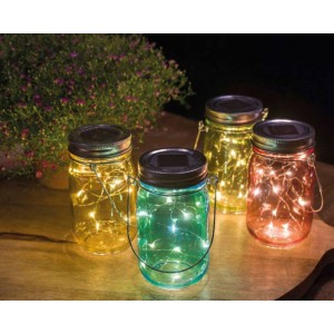 vaso vetro c/LED solare 14cm