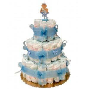 Torta di Pannolini Azzurra